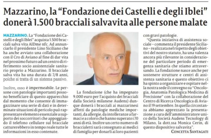 Mazzarino: la Fondazione dei Castelli e degli Iblei donerà 1500 bracciali salvavita AIDme alle persone malate